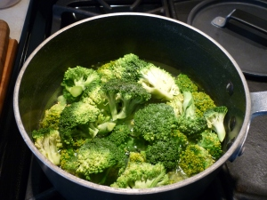 Start by cooking a couple heads of broccoli florets.