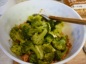 Add the cooked broccoli.