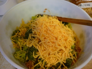 Add a couple cups of grated sharp cheddar cheese.