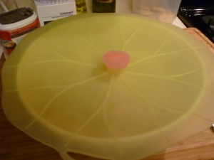 Cover the dish and bake at 350 degrees F for 30 minutes. (Don't you like my snazzy silicone cover?)