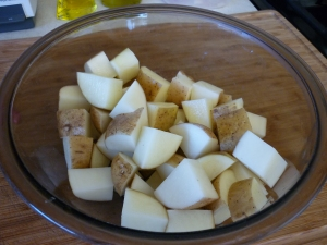 "Cut potatoes into 1"" dice to make four cups and cook them."