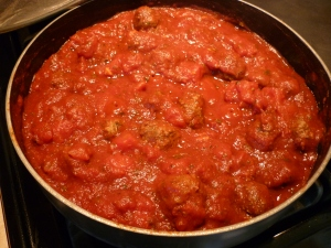 Here's a picture of the sauce before it has simmered. It's a very thick sauce. Stir it occasionally.