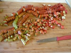 Chop rhubarb.