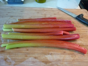 Run outside, pull rhubarb, clean, and trim.