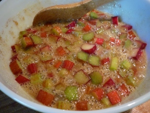 Mix rhubarb with eggs mixture.