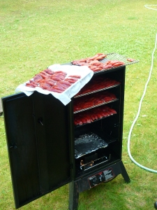 Put the fish onto racks in your smoker and smoke as manufacturer suggests. We like mesquite chips.