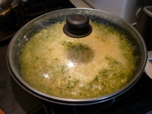 Bring to a boil, cover, and reduce heat to medium low. Simmer 20 minutes.