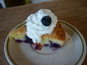 Apricots and Blueberries are two of my favorite fruits. The apricots are expensive here, but you only need three of them so it's doable. I splurge. This cake is quick to assemble. If you have the ingredients you can throw together a very nice little dessert for your guests. Apricot-Blueberry Cake This is a recipe by Kelsey Banfield, thenaptimechef found online at Momtastic Food.