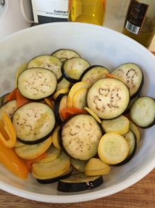 Blot the eggplants with paper towels and put them, with the squash and peppers, into a bowl. Sprinkle lightly with olive oil and stir around with your hands so that all the vegis are coated.