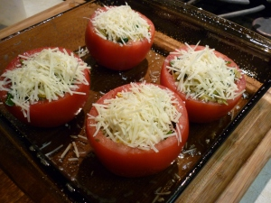 Sprinkle the tops with shredded or grated Parmesan cheese.