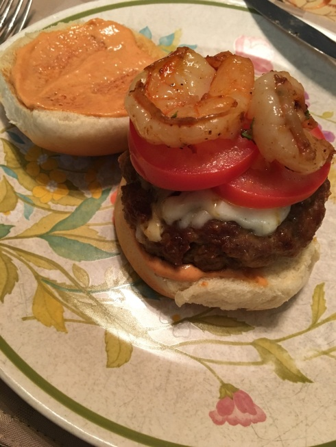 Chorizo Burger with Garlic Shrimp